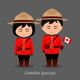 Canadians in national dress with a flag. stock illustration