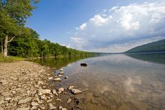 Canadice Lake. Wide angle view of Canadice Lake, one of the Finger Lakes, New York Royalty Free Stock Images