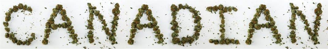 Canadien écrit avec la marijuana Image stock
