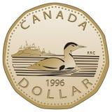 Canadien pièce de monnaie des 1996 dollars image stock