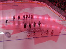 Canadiens使用在中心贝尔中心的Habs的蒙特利尔加拿大家 免版税库存图片
