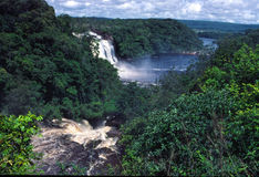 Canaima Lagoon and El Sapo Falls. SE Venezuela, Tepuis area stock photo