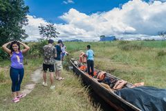 CANAIMA, VENEZUELA - AUGUST 16, 2015: Canoe on the river Carrao, Venezuela. It is used for tours to Angel Falls, the royalty free stock photography
