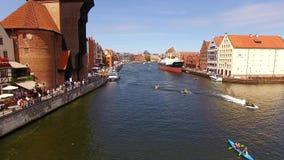 Canais de Gdansk, vista superior video estoque