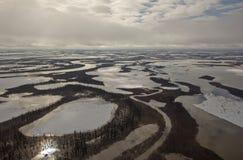 Canais de Mackenzie River Delta, NWT, Canadá Fotos de Stock Royalty Free
