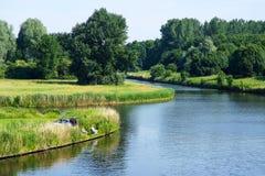 Canais perto de Lelystad Fotos de Stock Royalty Free