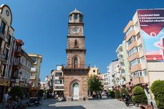 CANAKKALE, DIE TÜRKEI - 14. AUGUST 2017: Der historische Glockenturm befindet sich am Herd von Canakkale Lizenzfreie Stockbilder