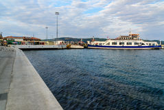 Canakkale ferry pier and boat in the morning. Turkey Royalty Free Stock Image