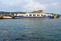 Canakkale ferry pier and boat in the morning. Turkey Royalty Free Stock Images