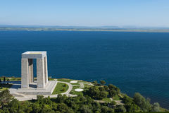 Canakkale Martyrs` Memorial against to Dardanelles Strait stock images