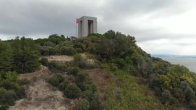 Canakkale Martyrs` Memorial, Rotating Aerial Shot by Drone stock video footage