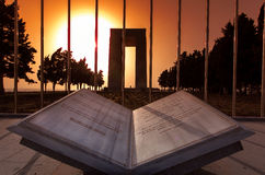 Canakkale Martyrs Memorial at sunset behing a marble book Stock Photos