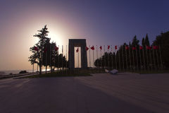 Canakkale martyrs memorial at sunset Royalty Free Stock Photography