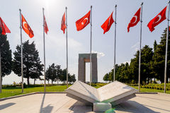Canakkale Martyrs' Memorial is a war memorial commemorating the service of about 253,000 Turkish. CANAKKALE, TURKEY - SEP 13, 2016: Canakkale Martyrs' Memorial Stock Photo