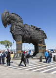 CANAKKALE, TURCHIA - 10 MAGGIO 2015: Foto del cavallo di Troia, fatta per il film Troia Immagine Stock