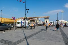 CANAKKALE, TURKEY - AUGUST 14, 2017: Entrance to Canakkale ferry pier. Asian side of the city on Dardanelles coast Stock Photos