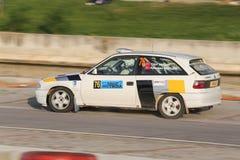 Rally Troia 2017. CANAKKALE, TURKEY - JULY 01, 2017: Yigit Yalcin drives Opel Astra F of Opel Motorsport Turkiye in Rally Troia Stock Images