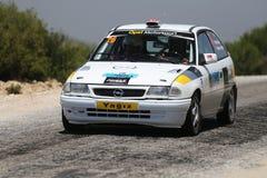 Rally Troia 2017. CANAKKALE, TURKEY - JULY 02, 2017: Yigit Yalcin drives Opel Astra F of Opel Motorsport Turkiye in Rally Troia Stock Images