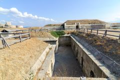 CANAKKALE, TURKEY- SEP 12, 2016: Rumeli Mecidiye emplacement fort Turkish Tabya. This emplacement hit HMS Ocean battleship of th Royalty Free Stock Photography