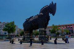 Canakkale, Turquia, 11 06 2018, cavalo de troia no quadrado principal imagem de stock