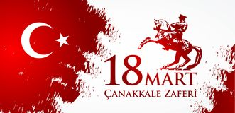 Canakkale zaferi 18 hala targowa Przekład: Turecki święto narodowe Marzec 18, 1915 dzień otomanu Canakkale zwycięstwo Obraz Stock