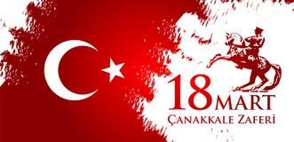 Canakkale-zaferi 18 Handelszentrum Übersetzung: Türkischer Nationalfeiertag des vom 18. März 1915 Tages der Osmane Canakkale-Sieg Stock Abbildung