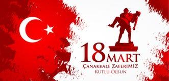 Canakkale-zaferi 18 Handelszentrum Übersetzung: Türkischer Nationalfeiertag des vom 18. März 1915 Tages der Osmane Canakkale-Sieg Lizenzfreie Abbildung