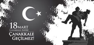 Canakkale-zaferi 18 Handelszentrum Übersetzung: Türkischer Nationalfeiertag des vom 18. März 1915 Tages der Osmane Canakkale-Sieg Lizenzfreie Stockfotos