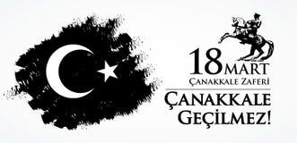 Canakkalezaferi 18 Markt Vertaling: Turkse nationale feestdag van 18 Maart, de dag van 1915 de Overwinning van Ottomanescanakkale vector illustratie
