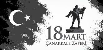 Canakkalezaferi 18 Markt Vertaling: Turkse nationale feestdag van 18 Maart, de dag van 1915 de Overwinning van Ottomanescanakkale stock illustratie