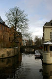 Canal. In Bruges, Belguim during winter stock image