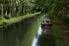 On the canal. Boat on the French canal lat鲡l Royalty Free Stock Image