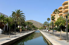 Canal in Alcudia town Royalty Free Stock Photo