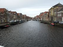 Canal Alkmaar. This picture is made in Alkmaar from a bridge royalty free stock photography