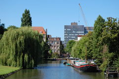 A canal in Amsterdam. City, Holland Stock Photo