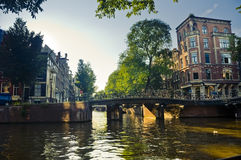 Canal in Amsterdam. A typical little canal in the Amsterdam neighborhood called Jordaan Stock Photography