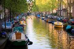 Canal of Amsterdam. The Netherlands Royalty Free Stock Image