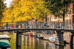 Canal in Amsterdam. Bridge over canal in Amsterdam Stock Photos