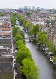 Canal in Amsterdam. Amsterdam city from above showing tree lined canal with bridges and boats Stock Photography