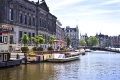 Canal at Amsterdam city, Netherlands Stock Photo