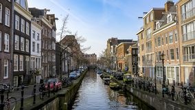 Canal in Amsterdam,  Netherlands royalty free stock photos