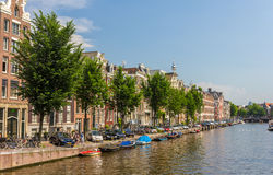 A canal in Amsterdam, Netherlands Stock Images