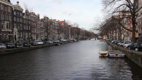 Canal in Amsterdam stock footage