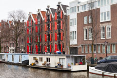 Canal of Amsterdam, Netherlands. Street royalty free stock images