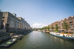 Canal in Amsterdam, Netherlands stock image