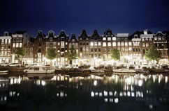 Canal in Amsterdam at night Stock Photo