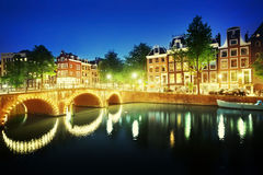 Canal in Amsterdam at night, Netherlands Royalty Free Stock Images