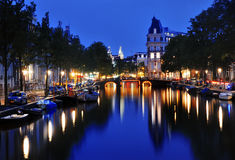 Canal of Amsterdam at night, Netherlands Stock Photography