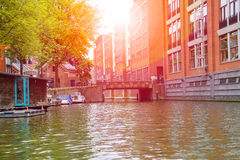 Canal in Amsterdam on a sunny day Royalty Free Stock Image