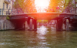 Canal in Amsterdam on a sunny day Royalty Free Stock Images